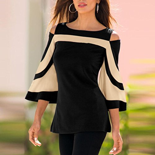 Tunique Manche Sexy Pullover Femme 4 Chemisiers Blouses Rond Casual Couture sans 3 Bretelles Col Noir Flare Tops PAYqRP