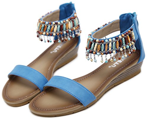 Blue Sandal Pendant (DolphinGirl Bohemian Summer Vacation Toe Strap Flat Sandals Retro Design, Ankle Strap Zip Vintage Shoes for Dressy Casual Jeans Daily Wear and Beach Vacation, Blue Straps and Colorful Pendants)