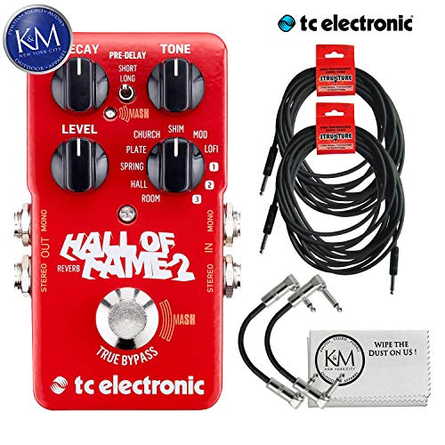 TC Electronic Hall of Fame 2 Reverb Pedal + (2) Instrument Cables + (2) Patch Cables + K&M Cloth