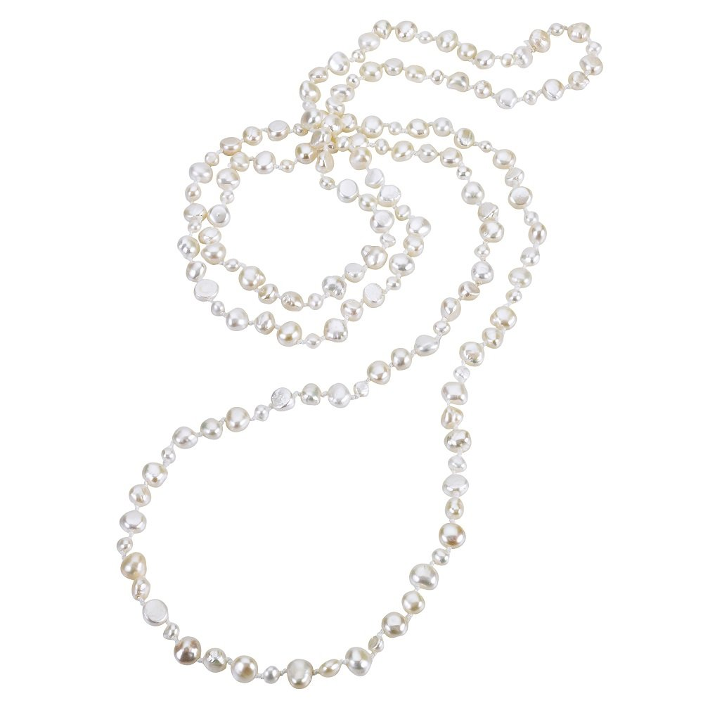 JOLIE PEARL Freshwater Pearl Endless Necklace 60'' 6-8mm (White)