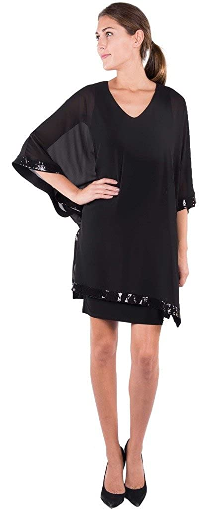 Joseph Ribkoff Black Fitted Dress with Sheer Sequined Overlay Style 164477 - Size 8 at Amazon Womens Clothing store:
