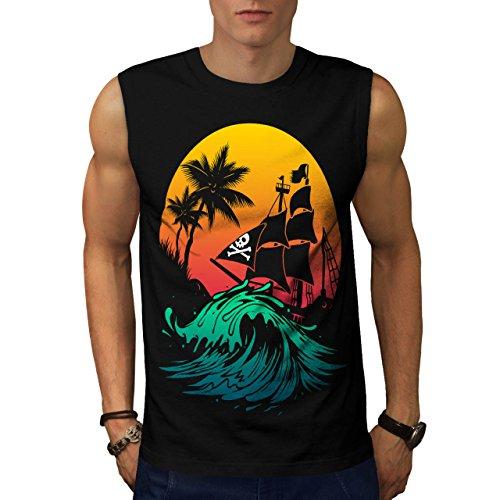 Pirate Ship Storm Sun Ocean Men NEW L Sleeveless T-shirt | Wellcoda ()