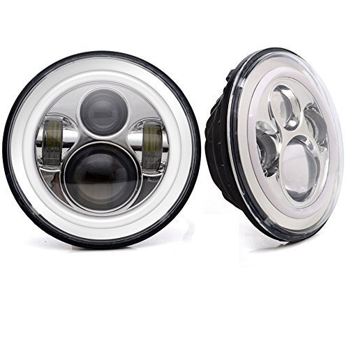 """2 X LAND ROVER DEFENDER 7"""" ROUND LED HEADLAMPS HEADLIGHTS"""
