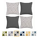 throw pillows for couch  Plaid Polyester Linen Decorative Pillow Covers 4 pcs Throw Pillows Covers Black and White Couch Pillowcase Cushion Cover 17X17 Throw Pillow Cover Couch Black White Set of 4 Holiday Bedroom