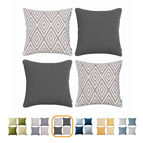 (Home Plus Plaid Polyester Linen Decorative Pillow Covers 4 pcs Throw Pillows Covers Black and White Couch Pillowcase Cushion Cover 17X17 Throw Pillow Cover Couch Black White Set of 4 Holiday Bedroom)