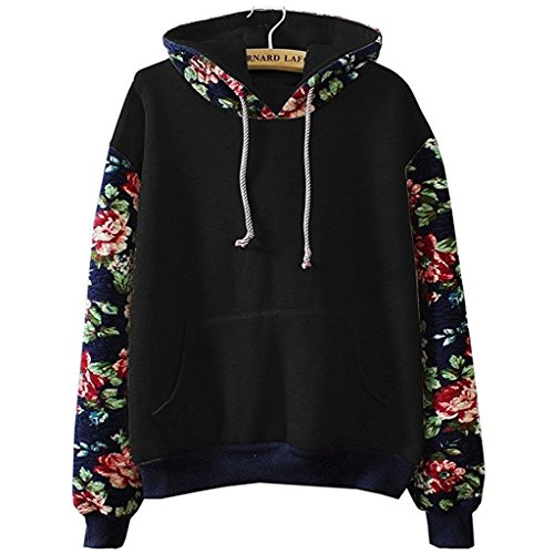 Cute Hoodies Sweater Pullover Warm Fleece Lined Flowers Sleeve