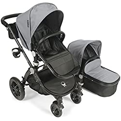 Baby Roues LeTour Avant Canvas Stroller with Bassinet - Sterling Silver / Black Frame
