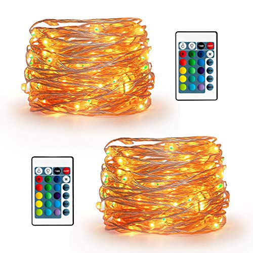 YIHONG 2 Set Fairy Lights USB Plug-in String Lights 2 Remotes 16.5ft Firefly Twinkle Lights Bedroom Party Decoration Wedding,16 Vibrant Colors