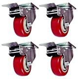 4 Pack 3'' Caster Wheels Swivel with 360 Degree Top Plate Total Lock Brake Red Polyurethane PU