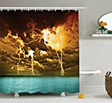 Ambesonne Lake House Decor Collection, Flash Storm over the Lake with Large Rain Clouds Miracle Solar Illumination Photo, Polyester Fabric Bathroom Shower Curtain, 75 Inches Long, Blue Yellow