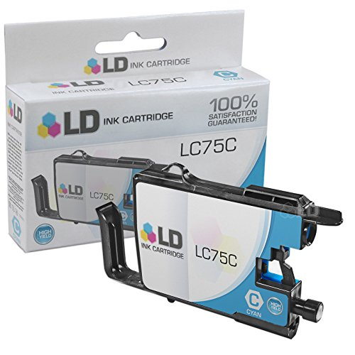 LD © Brother Compatible LC75C High Yield Cyan Ink cartridge. (LC75 Series) for use in the Brother MFC-J6510DW, MFC-J6710DW, MFC-J6910DW and MFC-J835DW Printers