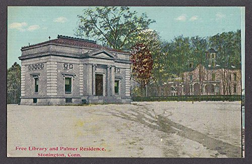 Free Library & Palmer Residence Stonington CT postcard 1910s
