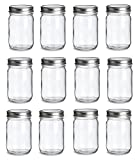 12oz mason jars - 12 pcs , 12 oz Mason Glass Jars with Silver Lids by Premium Vials