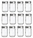 12 pcs , 12 oz Mason Glass Jars with Silver Lids by Premium Vials