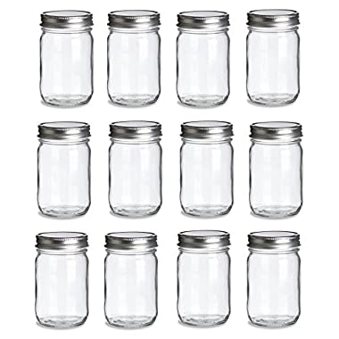 12 pcs, 12 oz Mason Glass Jars with Silver Lids by Premium Vials
