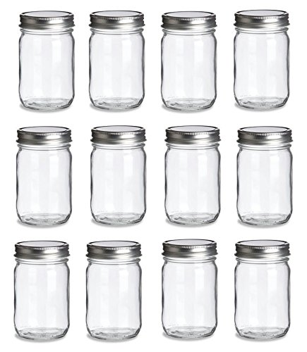 12 pcs, 12 oz Mason Glass Jars with Silver Lids by Premium Vials ()