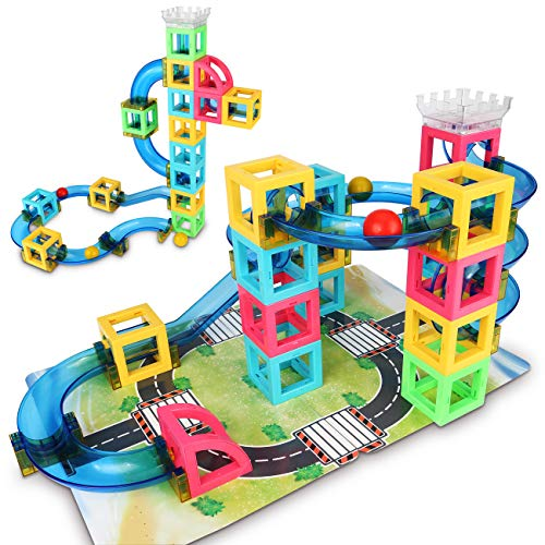(Magnetic Blocks with Marble Run Game - 32pcs STEM Learning Toy for kids, Construction Child Education Track Building Blocks (Storage Bag & Guidebook Include))