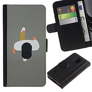 Paccase / Billetera de Cuero Caso del tirón Titular de la tarjeta Carcasa Funda para - 2D Man Minimalist Grey Design Art - Samsung Galaxy S5 V SM-G900