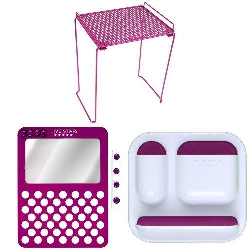 FiveStar Locker Shelf (Purple) with Locker Mirror and Loc...