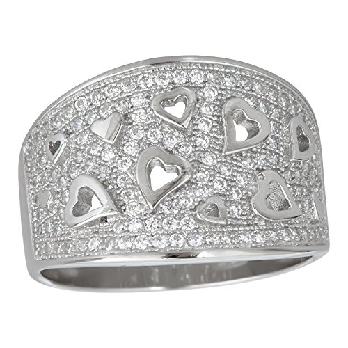 Sterling Silver Cubic Zirconia Floating Hearts Pave Eternity Band (Sterling Silver Cubic Zirconia Floating)