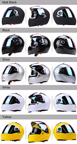 Amazon.com: Full Face Motorcycle Helmet Dual Visor Street Bike with Colorful Shield(MATTE BLACK-M): Automotive