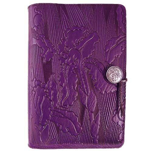 Purple Iris Flower American-Made Embossed Leather Writing Journal, 6 x 9-inch + Refillable Hardbound Insert Book