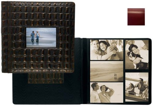 ROMA RED smooth grain leather #113 window album with 5-at-a-time pages by Raika - 4x6
