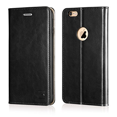 Belemay iPhone 6s Plus Case, iPhone 6 Plus Case, Genuine Leather Case Slim Wallet Flip Cover [Durable Soft TPU Inner Case] Card Holder Slots, Kickstand, Cash Pocket Compatible iPhone 6/6s Plus, Black
