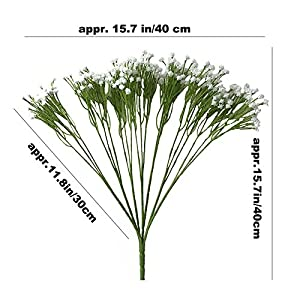 "Aisamco 2 Pack Artificial Baby's Breath 14 Forks, Fake Baby's Breath Bulk Flower Bush Artificial Gypsophila in White 15.7"" Tall for Wedding Centerpiece Wreath Boutonniere 2"