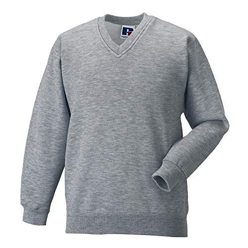 Russell Workwear V-Neck Sweatshirt Top (L) (Light Oxford)