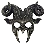 KBW Global Corp Antique Silver Goat Half Mask Horn Adult Mens Animal Venetian Costume Accessory