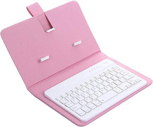 Mypace - Mini teclado inalámbrico Bluetooth de piel para ...