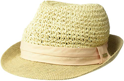 (Steve Madden Women's Paper Crochet Straw Fedora with Woven Band, Blush, One Size)