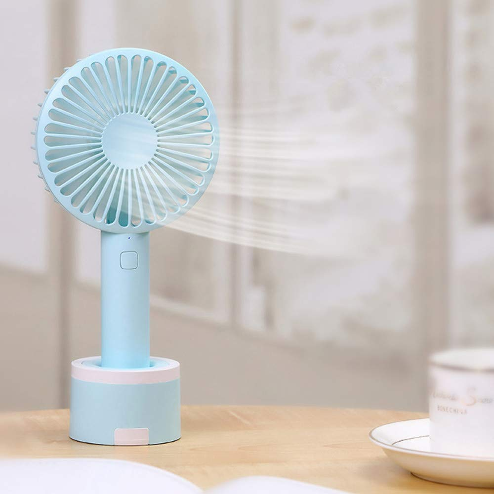 Mini Handhold Fan for Women,Best Summer Gift Portable Air Cooling Removable base USB Fan with Phone Holder Fans for Desk Home Speed Adjustable Cute Fan for Travelers and Office Workers(WA-Blue) by MIYA LTD (Image #5)