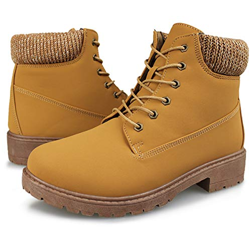 Hawkwell Women's Lace Up Outdoor Work Combat Boots Waterproof Ankle Bootie,Brown Leather,7 M US -