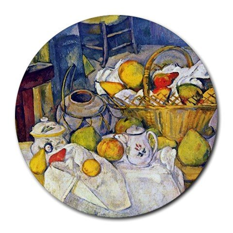 Still Life with Fruit Basket by Paul Cezanne Round Mouse Pad