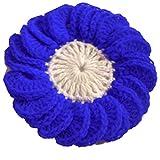 Handmade Woolen Crochet Applique Round Flower Design Blue And White Sale 15 PC