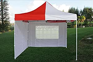 10'x10' Pop up 4 Wall Canopy Party Tent Gazebo Ez Red/white - E