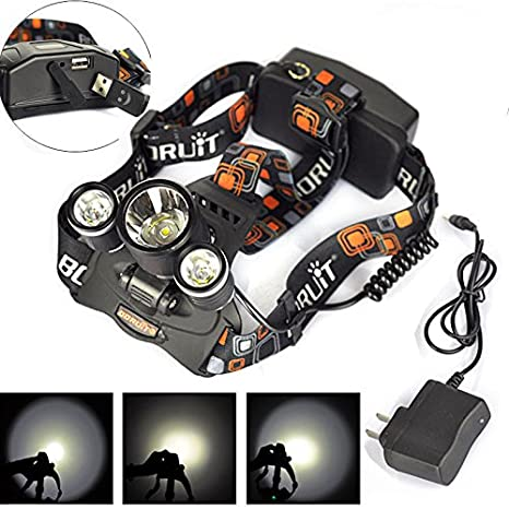 Amazon.com: Recargable 9000LM 3X XM-L2 LED Linterna Frontal ...