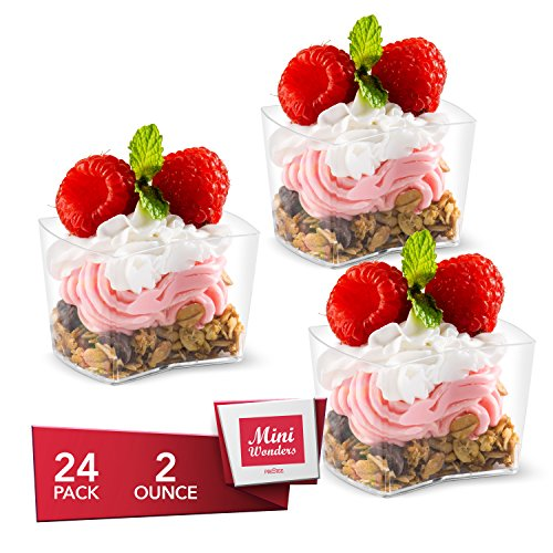 - MINI WONDERS Appetizer Cups | 2 oz. | 24 Pack | Rectangle Dented Bowls | Small Clear Plastic | Disposable | For Dessert Tiramisu Mousse & More!