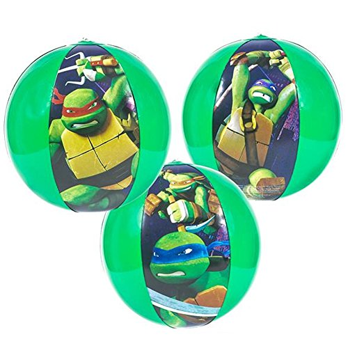 3 Pack Of Teenage Mutant Ninja Turtles Inflatable Beach Ball - 16 Inch Beach Ball For The Pool Beach Or As A Party (Inflatable Turtle Pool Toy)