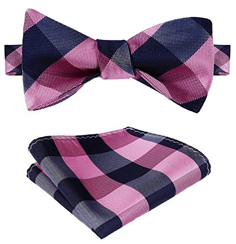 SetSense Men's Plaid Jacquard Woven Self Bow Tie Set One Size Pink/Navy Blue