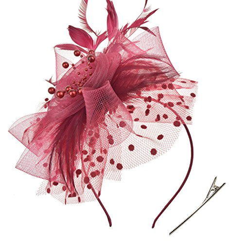 DRESHOW Fascinators Hat Flower Mesh Ribbons Feathers on a Headband and a Clip Tea Party Headwear for Girls and Women by DRESHOW