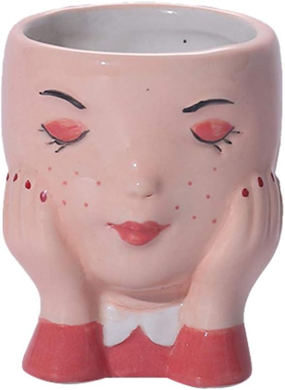 NUOBESTY Girl Head Face Planter Ceramic Flower Plant Pot Garden Plant Containers Cactus Succulent Planter Pot Mordern Sculpture