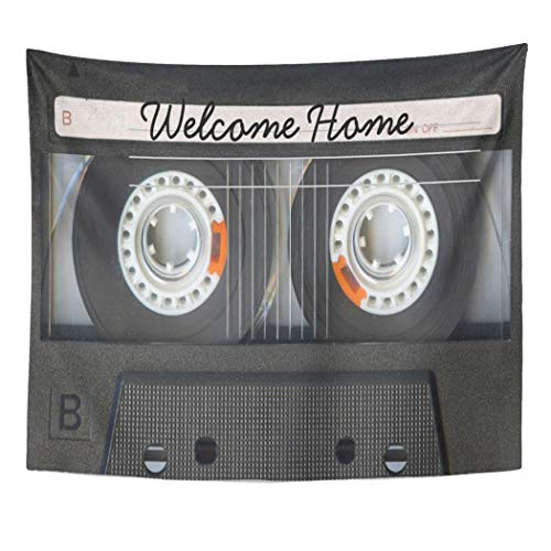 Semtomn Tapestry Artwork Wall Hanging Retro Vintage Music Mix Tape Look Welcome Cassette Cool 50x60 Inches Home Decor Tapestries Mattress Tablecloth Curtain Print