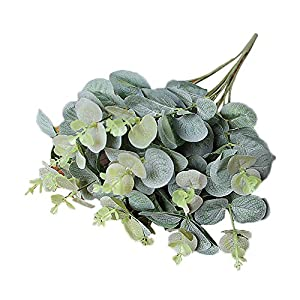 Alelife Artificial Fake Leaf Eucalyptus Leave Simulation Leaves Wedding Bouquet Party Home Decor (Green) 2