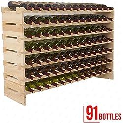 Mecor Wine Rack Wood,Modular Stackable Storage 91 Bottle Display Capacity Shelves, Wobble-Free