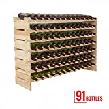 Mecor Wine Rack Wood, Modular Stackable Storage 91 Bottle Display Capacity Shelves, Wobble-Free