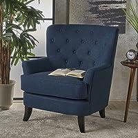 Annelia Tufted Navy Blue Fabric Club Chair