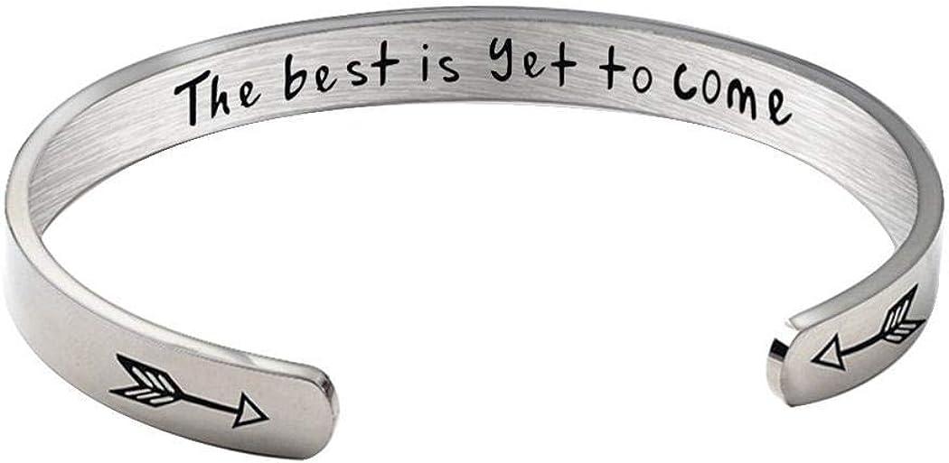 Yealsha Stainless Steel C-shaped Open Bracelet Women Men Bangle Jewelry Gift Bangle